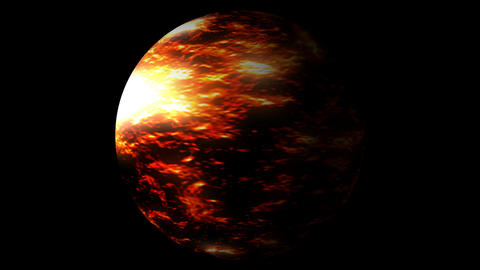 Fast Boiling Orange Red Brown Planet Sun Globe Alpha 2 Animation