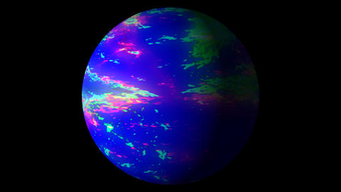 Slow Boiling Blue Colorful Planet Sun Globe Alpha 2 Animation