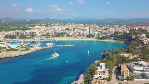 Aerial view landscape of the beautiful bay of Cala Anguila with a wonderful Footage