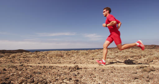 Success, achievement and determination - man running for fitness goals Live Action