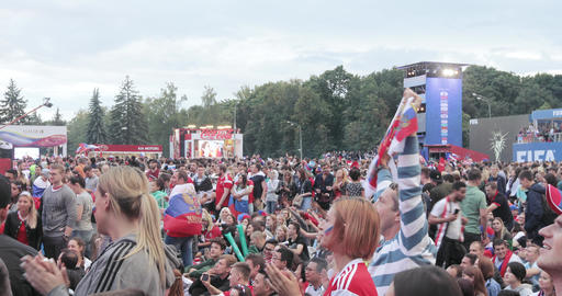 Festival of fans of FIFA on the Sparrow Hills Footage