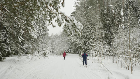 Active man moving after his wife while skiing in winter forest at leisure ビデオ