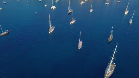 Aerial view of a sailboat near the coast of Majorca, Spain Stock Video Footage