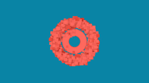 Behind the squares appears the symbol bullseye. In - Out. Alpha channel Animation