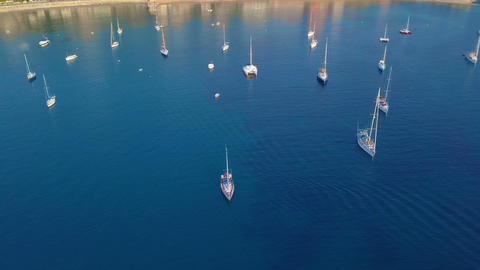 Aerial view of a sailboat near the coast of Majorca, Spain Footage