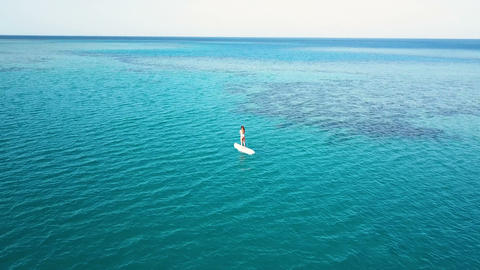 Aerial view of young girl stand up paddling on vacation. Tracking shot of a ビデオ