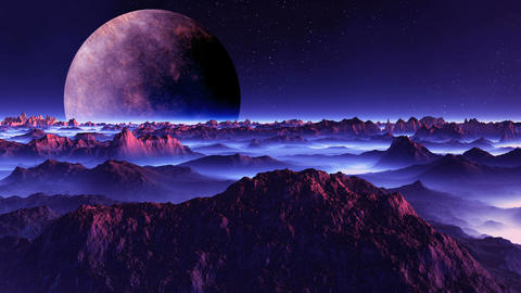 Alien Moon over the Misty Planet Animation