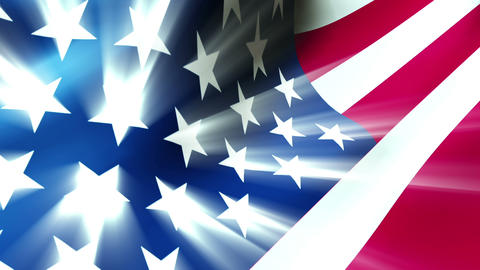 The American flag waving in the breeze with light effects - Old Glory 0112 HD, 4 Animation