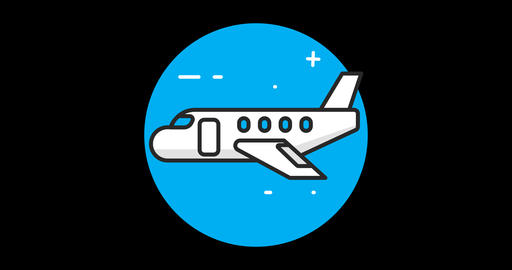Plane Premium flat icon animated with alpha channel Footage