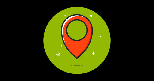 Map Mark Premium flat icon animated with alpha channel Live Action