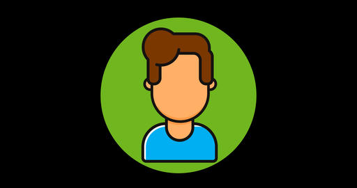 Man Premium flat icon animated with alpha channel GIF