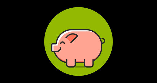 Money Pig Premium flat icon animated with alpha channel Live Action