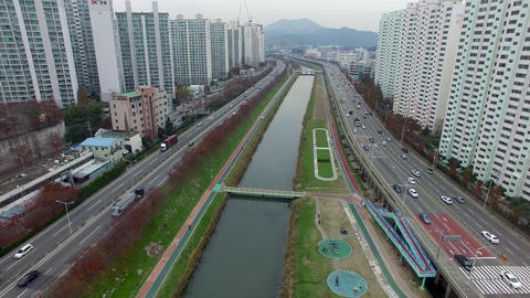 Traffic of Suyeong River, Busan, South Korea Asia Live Action