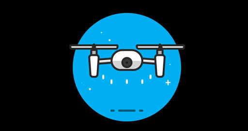 Drone Premium flat icon animated with alpha channel Footage