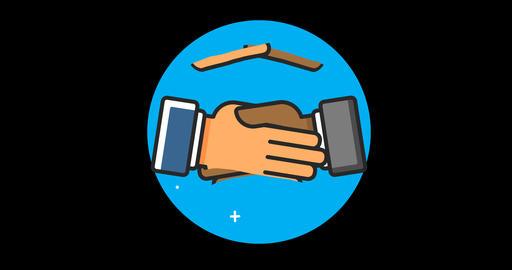 Handshake (International) Premium flat icon animated with alpha channel Footage