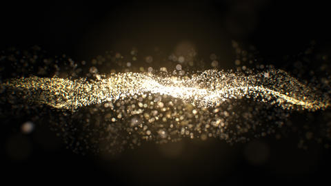 Beautiful Golden Particles Flowing Slow on Black Background Seamless. Looped 3d Animation