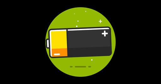 Battery Premium flat icon animated with alpha channel 영상물