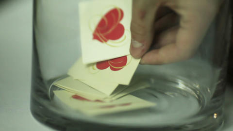 Glassware with paper cards Stock Video Footage