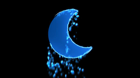 Liquid symbol moon appears with water droplets. Then dissolves with drops of Animation