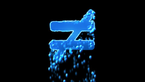 Liquid symbol not equal appears with water droplets. Then dissolves with drops Animation