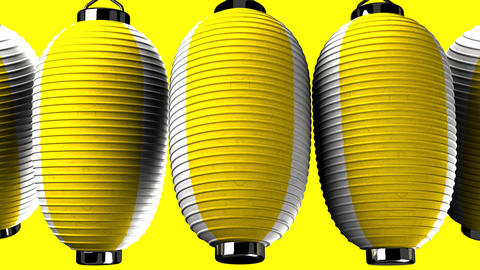 Yellow and white paper lanterns on yellow background Animation