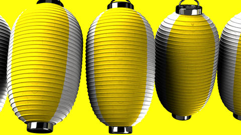 Yellow and white paper lanterns on yellow background, Stock Animation
