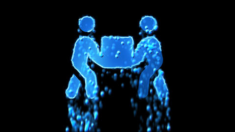 Liquid symbol people carry appears with water droplets. Then dissolves with Animation