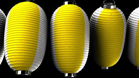Yellow and white paper lanterns on black background, Stock Animation