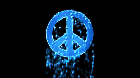 Liquid symbol peace appears with water droplets. Then dissolves with drops of Animation