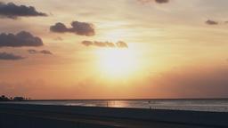 Sunrise sun sky in Islamorada, Florida Keys with horizon and boat Footage