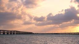 Panning sunset orange clouds in Bahia Honda State Park in Florida Keys Footage
