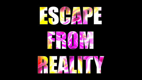 Letters of bright shiny Escape from reality text, 3d render background, computer Live Action