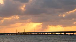 Dramatic orange sunset in Bahia Honda State Park in Florida Keys Footage