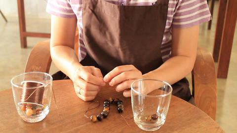 Beautiful handmade stone beads bracelet Footage