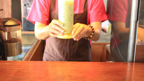 Serving Iced Green Tea Latte Live Action