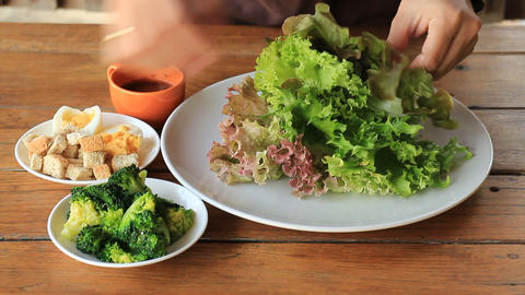 Homemade fresh vegetable healthy salad Live Action