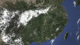 Route of a commercial plane flying to Nanchang, China on the map. Intro 3D Live Action