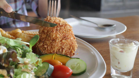 Delicious meal dish with chicken deep fried Live Action