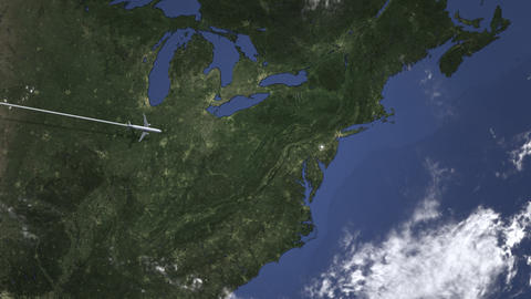 Commercial airplane flying to Philadelphia, United states. Intro 3D animation Live Action