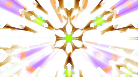 Abstract symmetry kaleidoscope with bright light rays, fractal lights, 3d render Footage