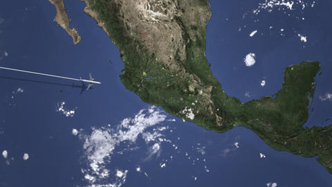 Commercial airplane flying to Puebla, Mexico. Intro 3D animation Live Action