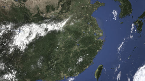 Route of a commercial plane flying to Shaoxing, China on the map. Intro 3D Live Action