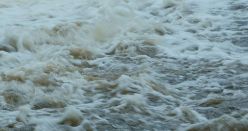 Turbulent stream of white water Footage