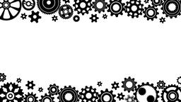 Horizontal black and white frame made of animated mechanisms gears cogwheels Animation