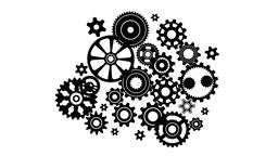 Complex mechanism of gears and cogwheels of various sizes and shapes Animation