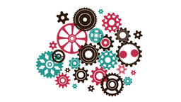 Complicated intricate clock mechanism from different in shape and size gears Animation