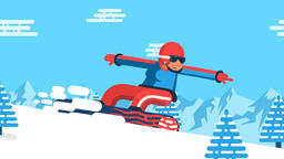 Snowboarder girl is racing down the mountainside among the spruce trees Animation