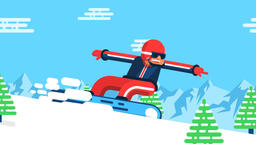 Funny flat snowboarder in bright colored outfit rushes along the mountainside Animation