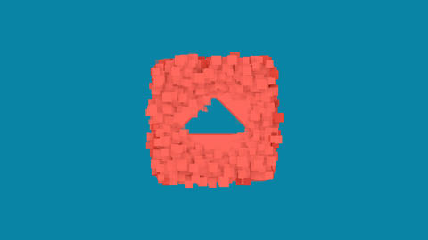 Behind the squares appears the symbol caret square up. In - Out. Alpha channel Animation