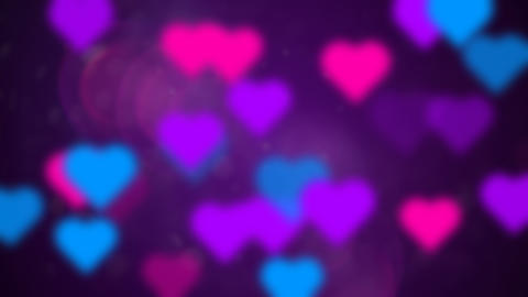 Abstract loop background multicolored love hearts Animation